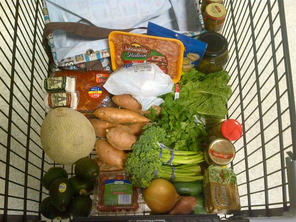 First Paleo-friendly cart of groceries.
