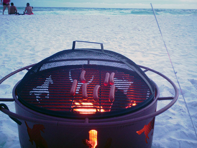 Grillin' on the beach.