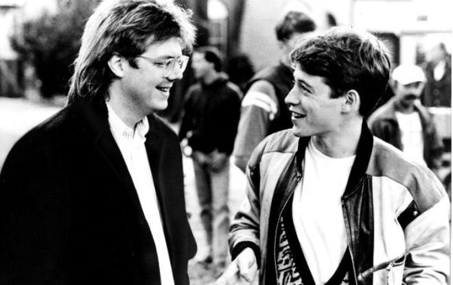John Hughes chats with Ferris Bueller's Day Off star, Matthew Broderick.