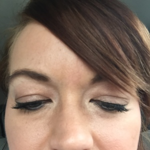 Wearing two coats of Younique (post-workout).