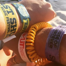 My collection of wristbands from Hangout Fest.