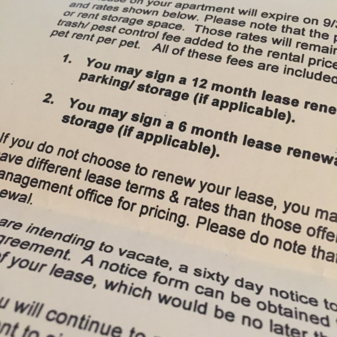 Totally NOT renewing my lease!