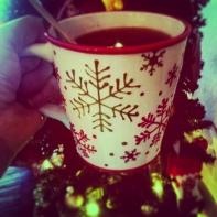 Coffee in the Christmas mug!