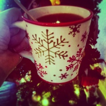 Coffee in the Christmas mug!