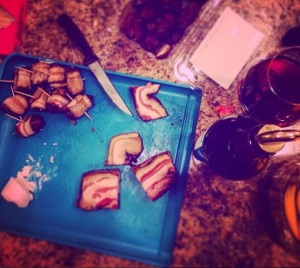 Bacon-wrapped dates!