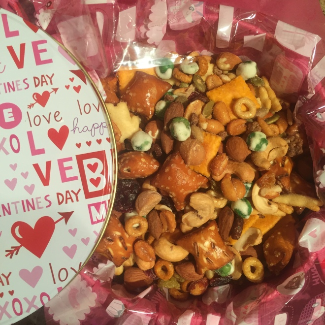 Homemade snack mix for TV watching.