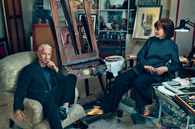 From Vogue: Anderson Cooper & his mom, Gloria Vanderbilt.