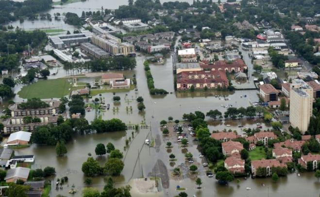 Parts of LSU campus underwater on Saturday.