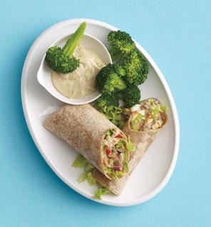 Salmon and apple salad wrap.