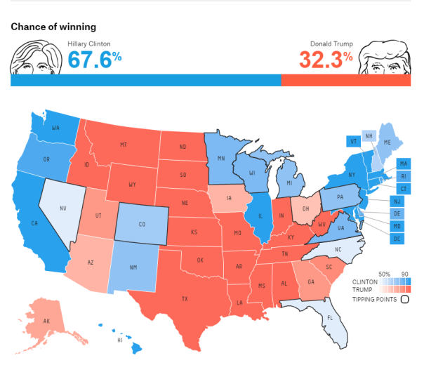 Nate Silver's predicted election map.
