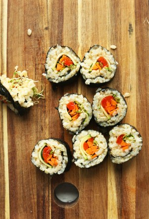 Brown rice veggie sushi from the Minimalist Baker.