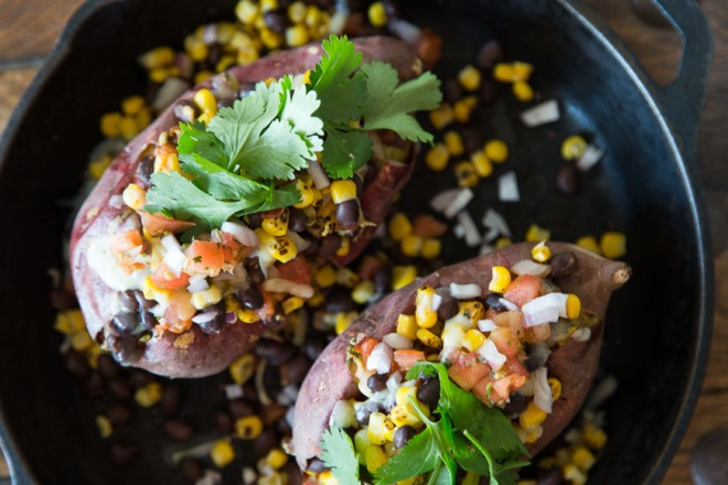 Healthy loaded sweet potatoes from 'What's Gaby Cooking'.