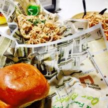 Bacon burger + onion rings @ Wahlburger.