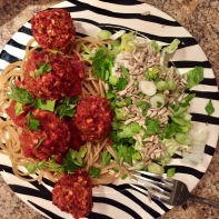 Spaghetti and beet balls.