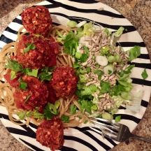 Spaghetti and beet balls.